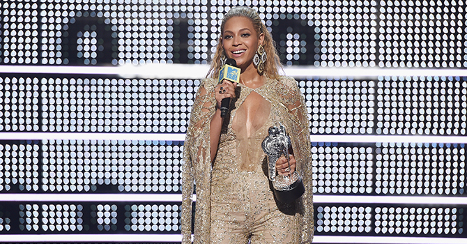 NEW YORK, NY - AUGUST 28: Beyonce accepts an award onstage during the 2016 MTV Music Video Awards at Madison Square Gareden on August 28, 2016 in New York City. (Photo by John Shearer/Getty Images for MTV.com)