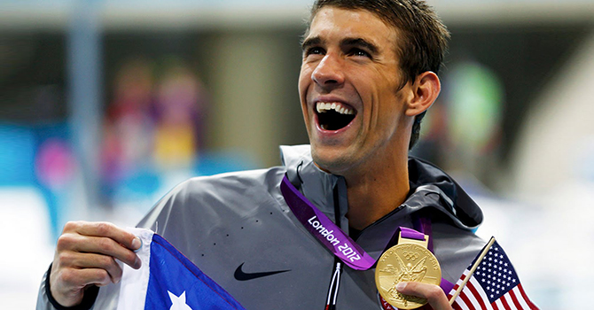 Phelps with medal 670 x 350