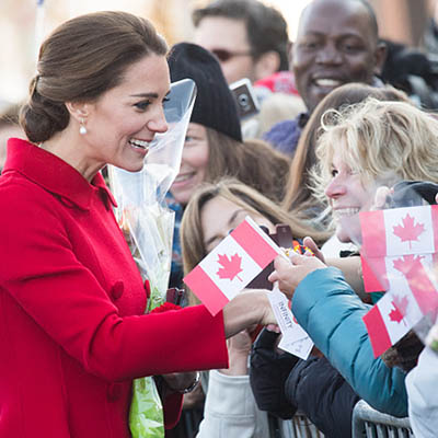 WHITEHORSE, CANADA - SEPTEMBER 28: Catherine, Duchess of Cambridge meets locals as she tours the the Main Street Party on September 28, 2016 in Whitehorse, Canada. (Photo by Samir Hussein/WireImage)