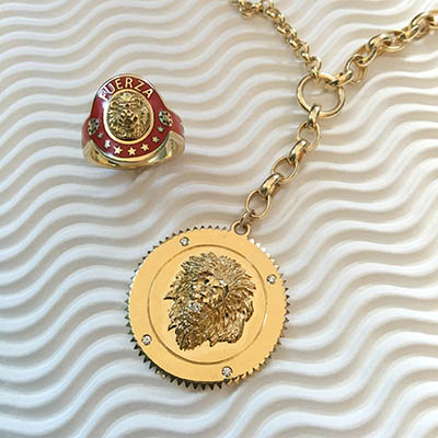 Foundrae Strength cigar band ring and pendant