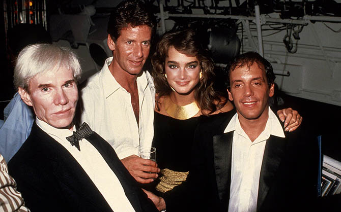 NEW YORK, NY - CIRCA 1981: Andy Warhol, Calvin Klein, Brooke Shields and Steve Rubell at Studio 54 circa 1981 in New York City. (Photo by Robin Platzer/Images/Getty Images)