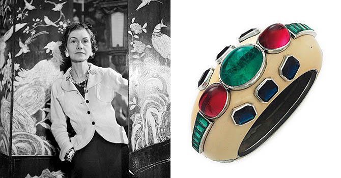 Coco Chanel wearing her bracelet designed by Verdura