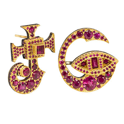 J and G ruby and gold initial earrings by Judy Geib Photo by Dirk Vandenberk