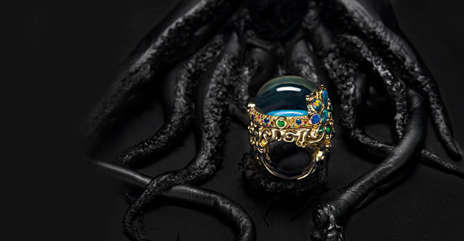 Medusa Moon Jellyfish ring by Temple St. Clair