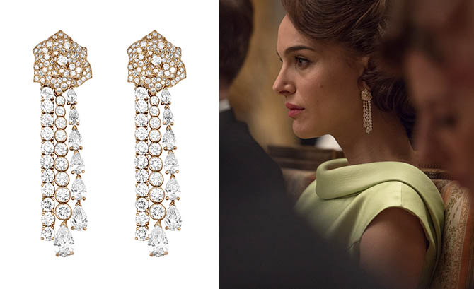 Piaget Mediterranean diamond earrings and Natalie Portman wearing the jewels in 'Jackie
