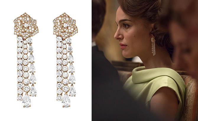 Piaget Mediterranean diamond earrings and Natalie Portman wearing the jewels in 'Jackie