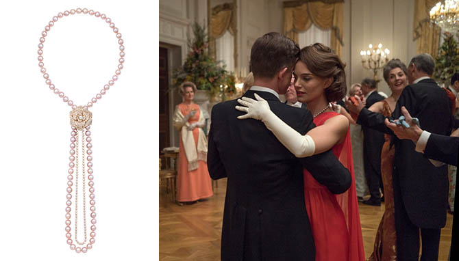 Piaget pearl and diamond Rose necklace and Natalie Portman wearing the jewel in 'Jackie'