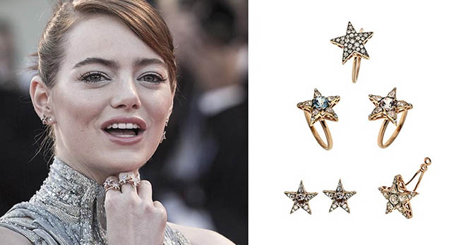 Emma Stone wearing Selim Mouzannar jewels at the Venice Film Festival Photo Alessandra Benedetti/Corbis; Courtesy