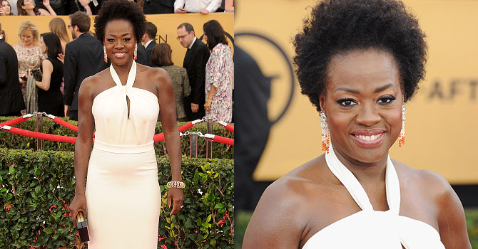 LOS ANGELES, CA - JANUARY 25: Actress Viola Davis arrives at the 21st Annual Screen Actors Guild Awards at The Shrine Auditorium on January 25, 2015 in Los Angeles, California. (Photo by Gregg DeGuire/WireImage)