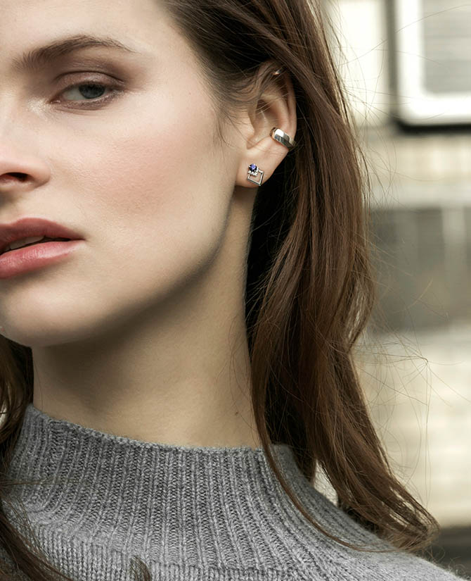 Rive Sapphire, Diamond and 18K White Gold Earring and VI White Gold Small Ear Cuff by Valani Photo courtesy