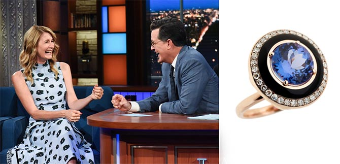 Laura Dern wearing a Selim Mouzannar ring on The Late Show with Stephen Colbert
