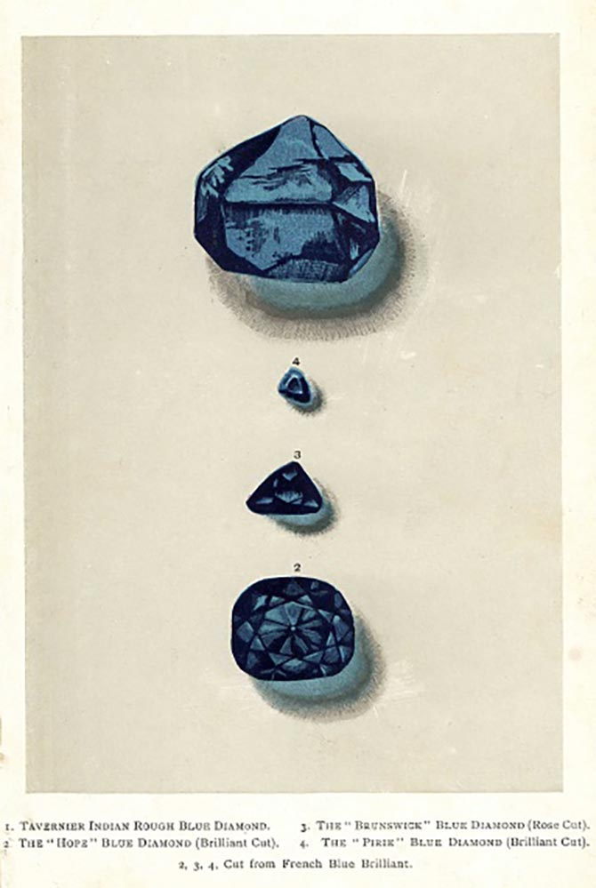 Chromolithograph by an unknown artist from Edwin Streeter's 1892 publication 'Precious Stones and Gems London' depicting blue Diamonds: the Tavernier Indian rough blue, the rose-cut Brunswick blue, brilliant cut Hope diamond and the brilliant cut Pirie blue. Photo Florilegius/SSPL/Getty Images