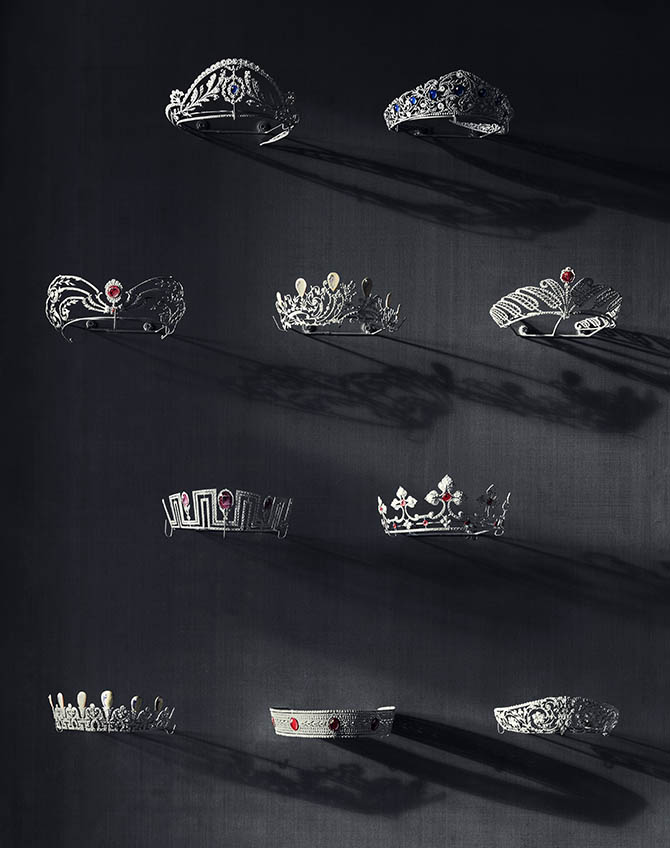The Salon des Diadèmes showcasing Chaumet tiaras since 1907. Several hundreds of models in maillechart, an alloy of nickel, copper, and zine, also called nickel silver, show the diversity of the House's designs. Photo by © Bruno Ehrs from © CHAUMET: Parisian Jeweler Since 1780 By Henri Loyrette, Flammarion, 2016