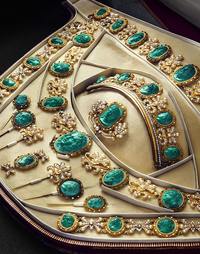 Empress Josephine's gold, pearl and malachite cameo parure attributed to Nitot and made around 1810. Photo by © Bruno Ehrs from © CHAUMET: Parisian Jeweler Since 1780 By Henri Loyrette, Flammarion, 2016