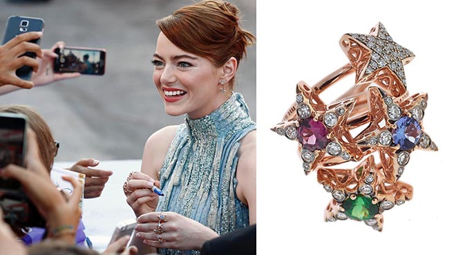 Emma Stone wearing Selim Mouzannar rings and earrings at the 2016 Venice Film Festival premiere of 'La La Land.'