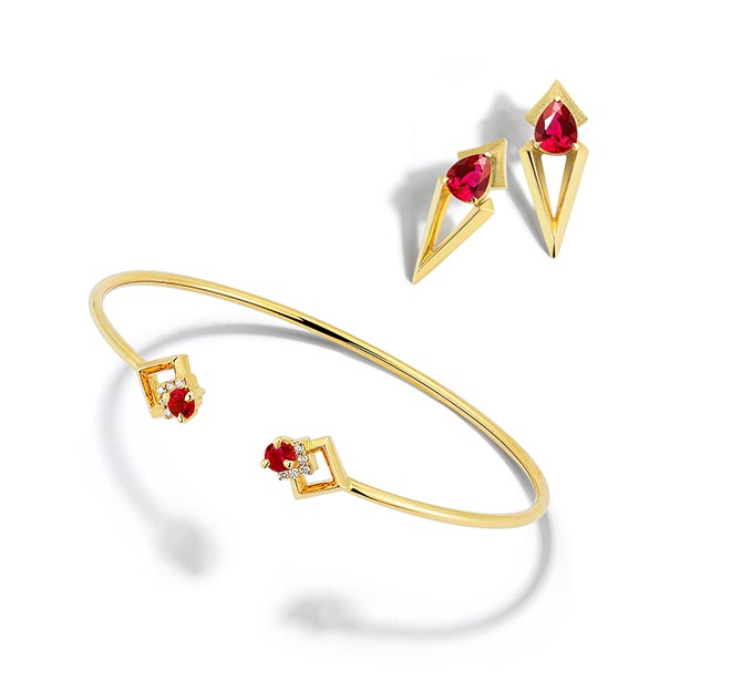 Rive Ruby, Diamond and 18K Gold Cuff and Arris Ruby and 18K Gold Drop Earrings by Valani Photo courtesy
