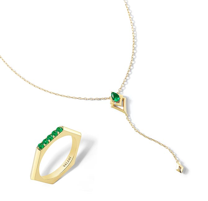 Arris Emerald and 18K Gold Necklace and Hexa V Emerald Ring by Valani Photo courtesy