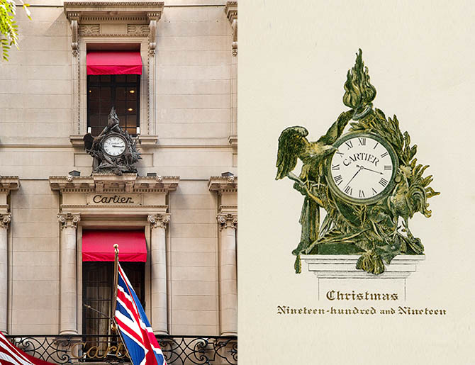 Eagle and rooster clock on the Cartier Mansion and card with a drawing of the clock anouncing its installment on the mansion in 1919.  Photo P. Parinejad © Cartier; Cartier Archives, New York © Cartier