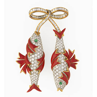 Bunny Mellon's Double Fish Brooch by Jean Schlumberger Photo courtesy of The Virginia Museum of Fine Arts