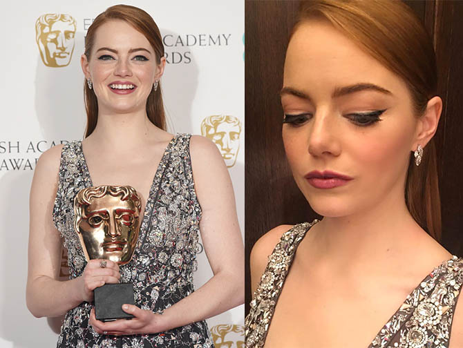 LONDON, ENGLAND - FEBRUARY 12: Emma Stone poses with her award for Leading Actress in 'La La Land' in the winners room at the 70th EE British Academy Film Awards (BAFTA) at Royal Albert Hall on February 12, 2017 in London, England. (Photo by Dave J Hogan/Getty Images)