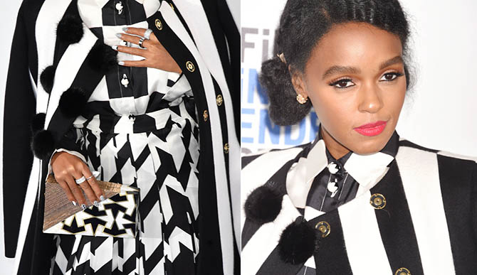 SANTA MONICA, CA - FEBRUARY 25: Actress Janelle Monae, purse and jewelry detail, attends the 2017 Film Independent Spirit Awards at the Santa Monica Pier on February 25, 2017 in Santa Monica, California. (Photo by C Flanigan/FilmMagic)
