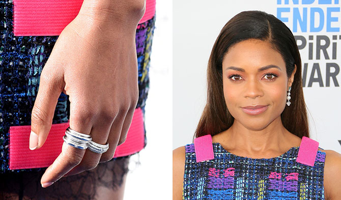 SANTA MONICA, CA - FEBRUARY 25: Actress Naomie Harris, jewelry detail, attends the 2017 Film Independent Spirit Awards on February 25, 2017 in Santa Monica, California. (Photo by C Flanigan/FilmMagic)