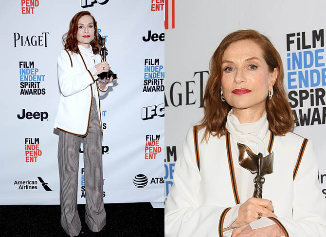 SANTA MONICA, CA - FEBRUARY 25: Actor Isabelle Huppert, winner of the Best Female Lead award for 'Elle,' poses in the press room during the 2017 Film Independent Spirit Awards at the Santa Monica Pier on February 25, 2017 in Santa Monica, California. (Photo by Phillip Faraone/Getty Images)