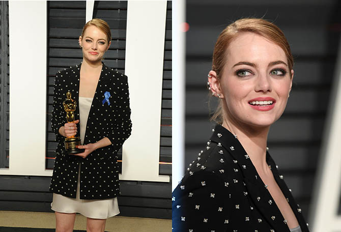 BEVERLY HILLS, CA - FEBRUARY 26: Emma Stone arrives for the Vanity Fair Oscar Party hosted by Graydon Carter at the Wallis Annenberg Center for the Performing Arts on February 26, 2017 in Beverly Hills, California. (Photo by Karwai Tang/Getty Images)