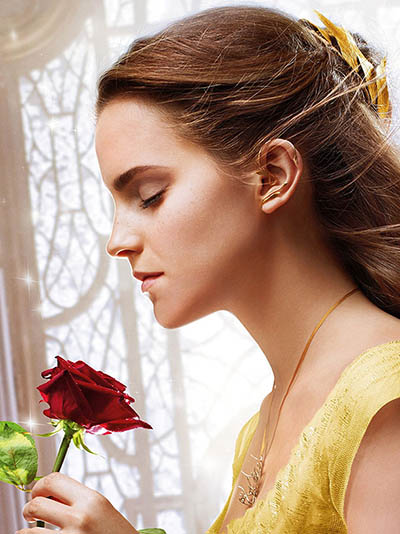 Emma Watson wearing the tree branch ear cuff, hair ornament and necklace in 'Beauty and the Beast' Photo Walt Disney