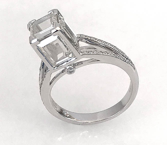 Christian Tse's platinum and picture frame diamond Cube ring Photo by Sally Davies