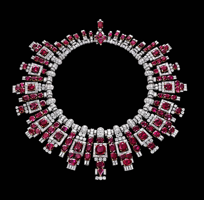 The stunning ruby necklace Maharaja Digvijaysinhji of Nawanagar commissioned from Cartier in 1937.
