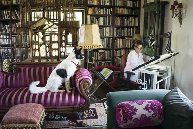 Cynthia Bach, accompanied by her dog Sweetie, working in her design studio located in her home in Los Angeles. Photo by Sally Davies