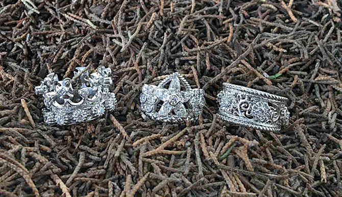 Three platinum and diamond riings by Cynthia Bach: the Maltese Cross Crown Ring, the Flower Crown Ring and the Band Ring Photo by Sally Davies