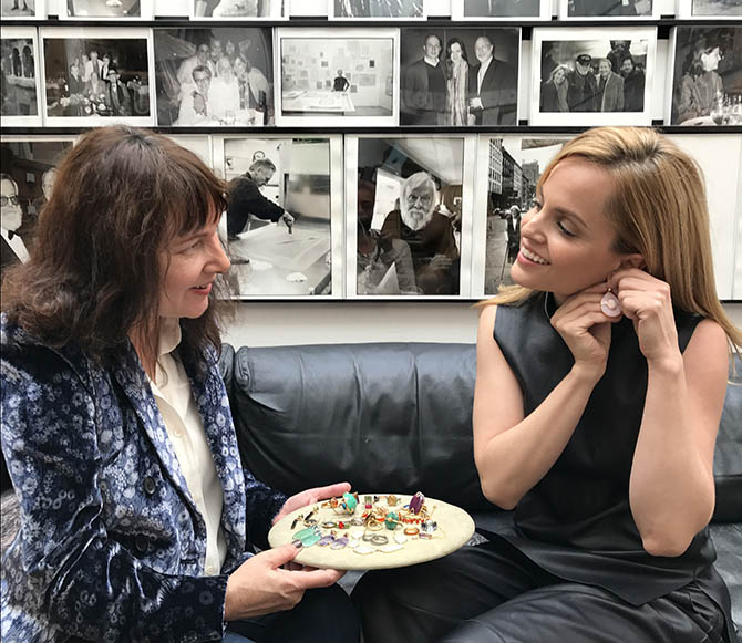 Suzanne Felsen and Mena Suvari reviewing jewelry Photo by Sally Davies