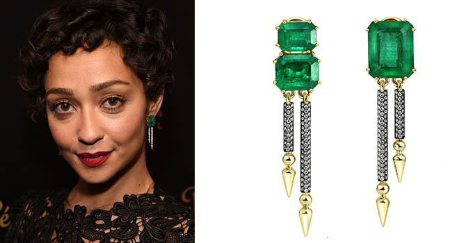 Ruth Negga in Gemfields x Sarah Hendler earrings at The Santa Barbara International Film Festival on February 4, 2017 Photo by Michael Kovac/Getty Images and courtesy