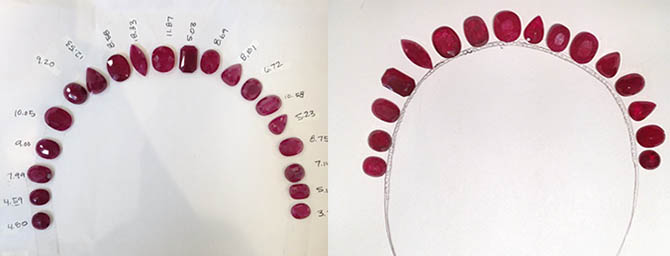 The Mozambique Gemfields rubies laid out in designs by Irene Neuwirth for Ruth Negga's Oscar tiara