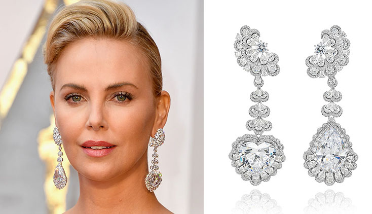 Charlize Theron Wearing The Long Garden Of Kalahari Diamond Pendant Earrings At Right On Red Carpet 2017 Oscars