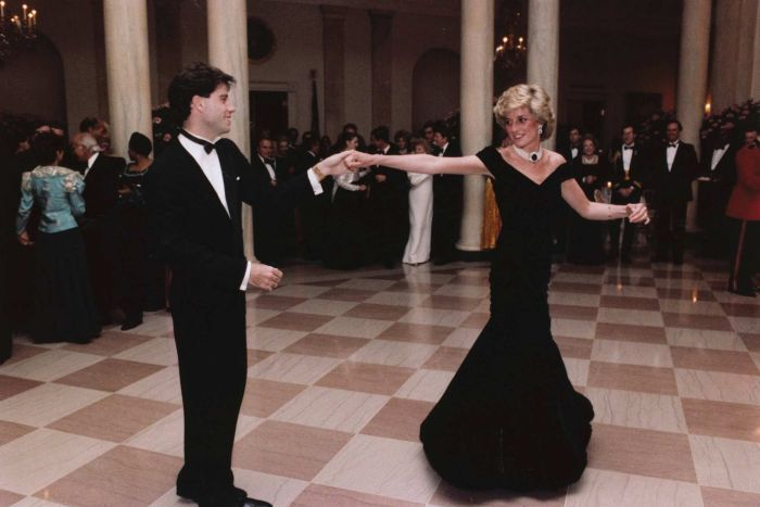 At the White House in 1985, John Travolta dancing with Princess Diana who is wearing the sapphire, diamond and pearl choker Photo AP Ronald Reagan Library