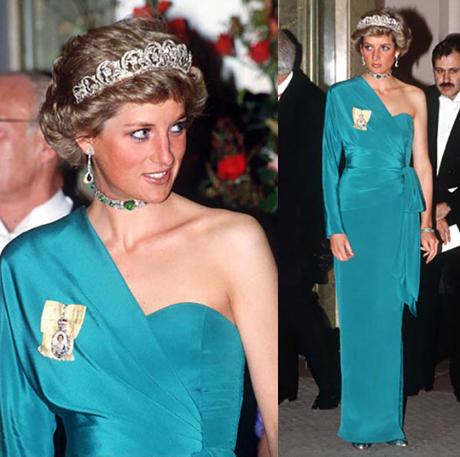 Princess Diana at a banquet at Claridge's wearing the Spencer Diamond Tiara, Queen Mary's Cabochon emerald and diamond choker she received as a wedding gift from the queen and Royal Family Orders as well as pendant earrings with emerald drops Photo by Tim Graham/Getty Images