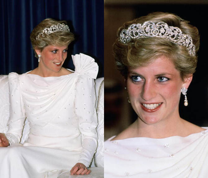 Princess Diana wearing the Spencer Tiara with pearl and diamond earrings that were a wedding present from the Emir of Quatar a State Banquet in Bahrain Photo by Tim Graham/Getty Images