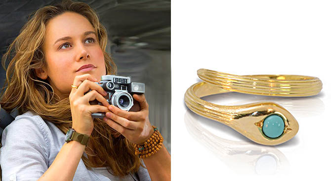 Brie Larson in 'Kong: Skull Island' wearing the Ilias LALAoUNIS gold and turquoise snake ring at right on her index finger. Photo Warner Bros. Pictures