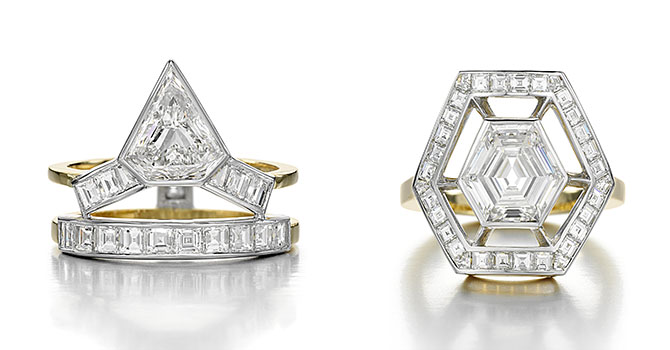 Tetris and Space Odyssey diamond engagement rings by Jessica McCormack