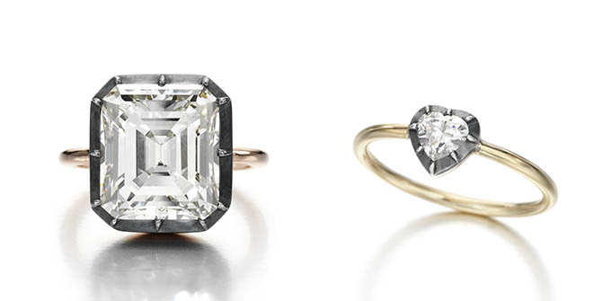 Emerald-cut diamond and Heart-Shape diamond in Jessica McCormack's signature Button Back setting with oxidized silver and gold
