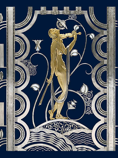 Muse with Violin Screen (detail), 1930. Rose Iron Works, Inc. (American, Cleveland, est. 1904). Paul FehÈr (Hungarian, 1898ñ1990), designer. Wrought iron, brass; silver and gold plating; 156.2 x 156.2 cm. The Cleveland Museum of Art, On Loan from the Rose Iron Works Collections, LLC, 352.1996. © Rose Iron Works Collections, LLC. Photo: Howard Agriesti