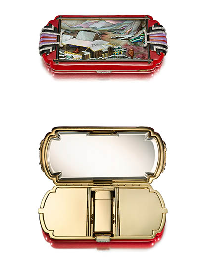 Zen Garden Vanity Case, ca. 1925; Produced by Linzeler & Marchak (France); Manufactured by Strauss, Allard & Meyer (France); Mosaic by Vladimir Makovsky (Russian, active Paris, 1884-1966); Enamel, hardstone, mother-of-pearl, diamonds, gold, platinum, mirrored plate glass; 9.5 ◊ 5.3 ◊ 1.2 cm (3 3/4 ◊ 2 1/16 ◊ 1/2 in.); Photo: Doug Rosa