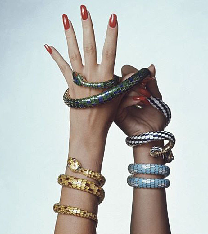 Bulgari enamel, gold and gemset snakes in 1971 Irving Penn image