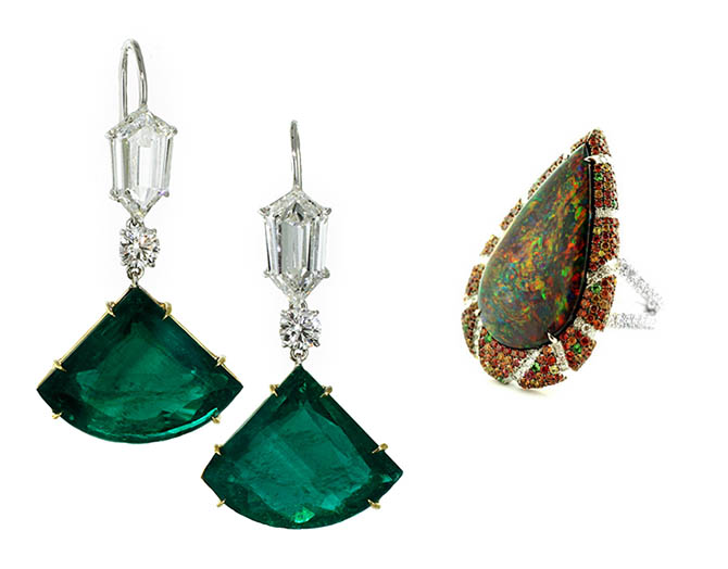 Martin Katz Diamond Pendant Earrings set with 10.62-carat and 9.05-carat Kite Shape Emeralds. Martin Katz 6.28-carat Pear-Shape Red-Black Opal ring with a microset surround of diamonds, orange sapphires and other gems. Photo courtesy