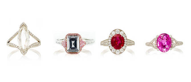 Four Martin Katz Rings: Octagonal Marquise Rose-cut Diamond Microset ring, Fancy Diamond Ring, Natural Ruby and Diamond Ring, Pink Sapphire and Microset Diamond Ring.  Photo courtesy of Moda Operandi