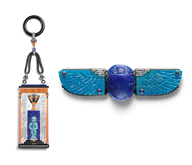 Scarab Belt Buckle Brooch, 1926; Produced by Cartier (Paris, France); Owned by Linda (Mrs. Cole) Porter (American, 1883‒1954); Gold, platinum, Egyptian blue faience, diamonds, sapphires, enamel; 3.8 × 12.8 × 2.1 cm (1 1/2 × 5 1/16 × 13/16 in.); Cartier Collection, Inv. CL 341 A26; Photo: Marian Gerard, Cartier Collection © Cartier