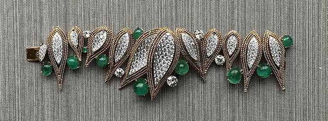 Abstract diamond, gold and emerald mid-century bracelet Photo by Sally Davies